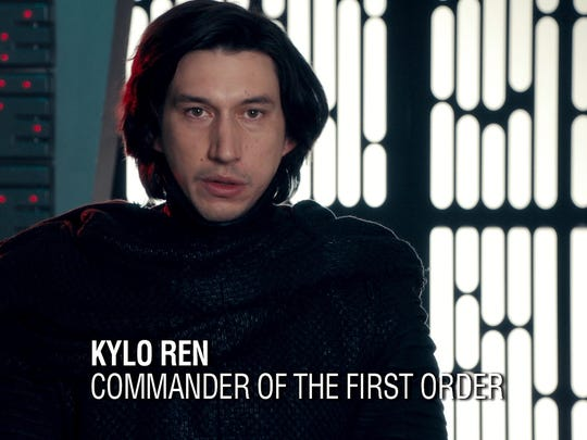 "Actor Adam Driver in his ""Saturday Night Live"" spoof of his ""Star Wars"" character, Kylo Ren, preparing to do an ""Undercover Boss"" segment."