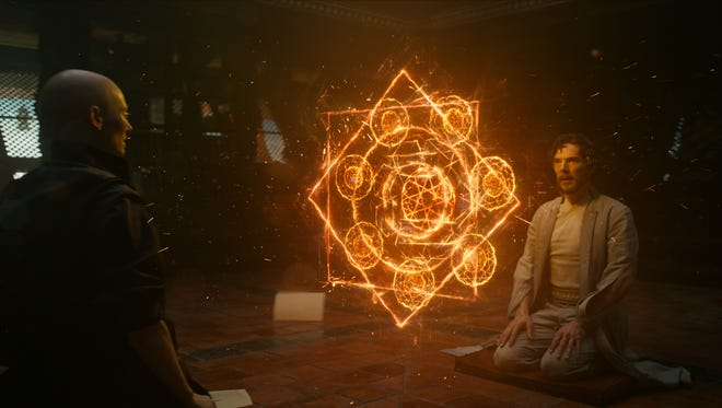 "Tilda Swinton, left, and Benedict Cumberbatch in a scene from Marvel's ""Doctor Strange."" The movie opens Thursday at Regal West Manchester Stadium 13, Frank Theatres Queensgate Stadium 13 and R/C Hanover Movies."