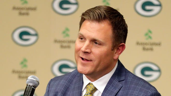 Green Bay Packers general manager Brian Gutekunst speaks to the media on Jan. 8, 2018, at Lambeau Field.