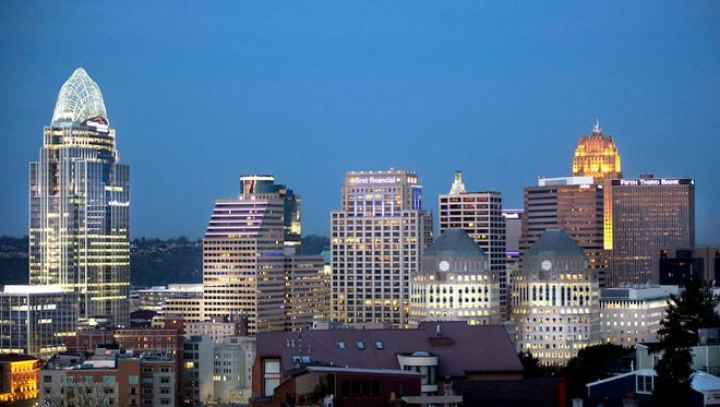 A view of downtown Cincinnati photographed from Holy Cross- Immaculate church in Mt. Adams.