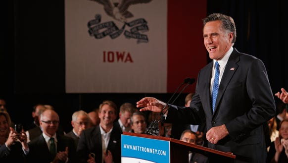 Mitt Romney speaks at the Hotel Fort Des Moines on