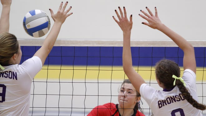 Laingsburg's Sophie Strieff, center, ranks among the leaders in kills and digs per set.