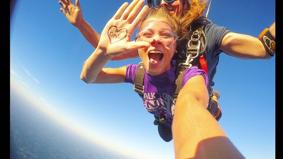Caroline Magee goes skydiving to raise awareness for Alzheimer's. (Photo: Caroline Magee)