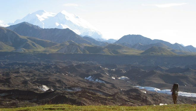 A hiker takes in the view at Denali National Park and Preserve in Alaska.