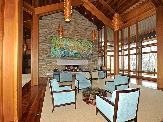 The home at 1425Castania Way features, stone, wood and floor-to-ceiling windows. It is for sale for $6.5 million.