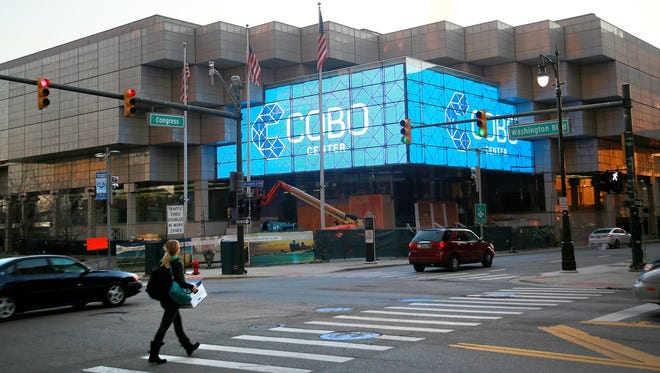 The new entrance to the Cobo Center at Congress street and Washington Boulevard.