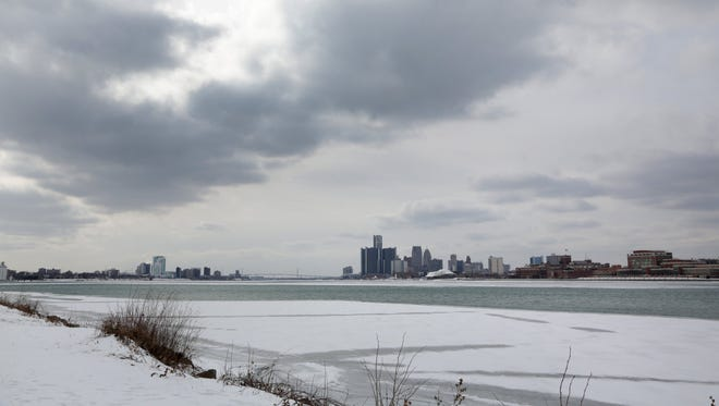 The Detroit skyline from the empty shores of the Detroit River on Belle Isle  Feb. 13.