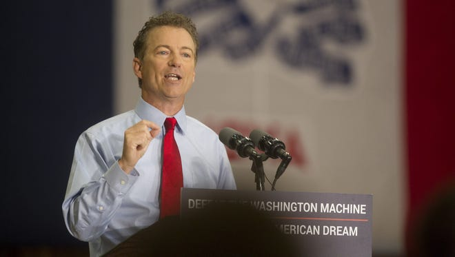 Presidential candidate Rand Paul speaks to guests at the Iowa Memorial Union on Friday, April 10, 2015.