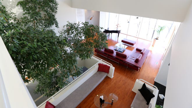 Trees reach the second level as you look down onto the open living area.
