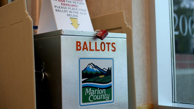 A ballot drop box at the Marion County Election Office in Salem on Tuesday, May 12, 2015.