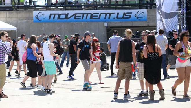 People dance at the main stage during Movement 2015 at Hart Plaza on Saturday, May 23, 2015.