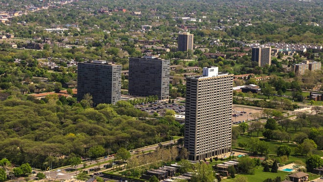 A view of Lafayette Park in Detroit on Monday May 19, 2014.