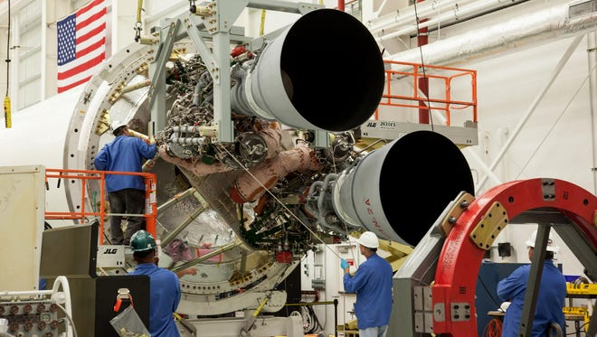 Two RD-181 engines are integrated with the Antares first stage air frame at the Wallops Island, Virginia Horizontal Integration Facility.
