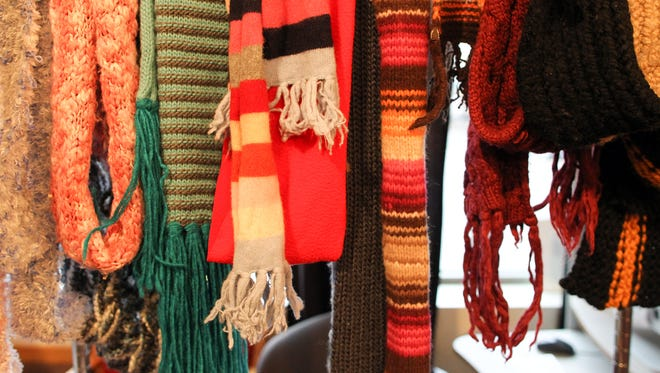 Various scarves are seen at the annual UAY clothing drive on Tuesday, Nov. 17, 2015.