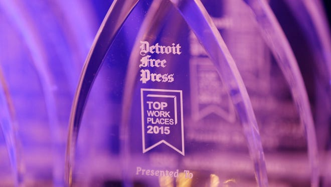 Awards waiting to be handed out at the 8th annual Detroit Free Press Top Workplaces awards ceremony at the Marriott hotel in Troy on Wednesday, Nov. 18, 2015.