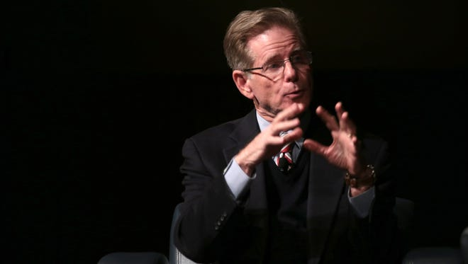 Retired bankruptcy Judge Steven Rhodes, talks about  Detroit's bankruptcy at an event  sponsored by Detroit Journalism Cooperative and Detroit Public Television at Wayne State University on Wednesday, Dec. 9, 2015.