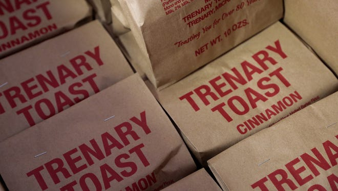 Bags of Trenary Toast wait to be shipped to a customer from the Trenary Home Bakery in Michigan's Upper Peninsula on Tuesday Nov. 17, 2015.