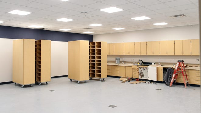 A new room is seen at Clear Creek Amana Middle School on Monday, Dec. 28, 2015.