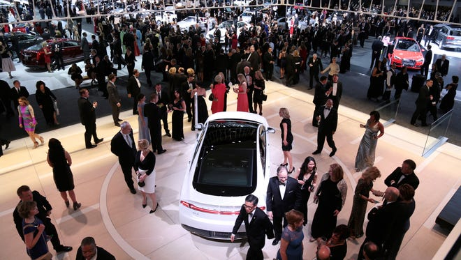 The 2016 North American International Auto Show Charity Preview at Cobo Center on Friday, Jan. 15, 2016 in Detroit.  The Lincoln exhibit at the auto show; overall