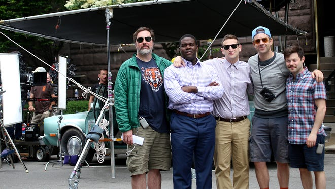"""The cast of """"Detroiters"""" was in downtown Detroit in June to shoot the series pilot. From left: Joe Kelly, Sam Richardson, Tim Robinson,  Jason Sudeikis and Zach Kanin. Richardson and Robinson are former metro Detroiters."""