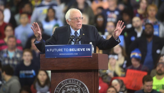 Democratic Presidential candidate, Bernie Sanders makes a campaign stop at the Convocation Hall on the campus of Eastern Michigan University Monday, Feb. 15, 2016.