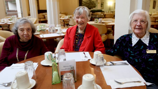 "Centenarians, from left, Rachel Kalb, 104, Mabel ""Oak"" Preckwinkle, 100, and Ethel Putt, 100, meet at Madrona Hills Retirement Living in Salem on Wednesday, March 9, 2016."