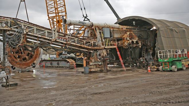 This is a tunnel boring machine in the DigIndy Tunnel System, Thursday, April 21, 2016.  It is used to bore into the earth to construct the tunnels.  A completion plan was announced at the site to complete the remaining 18 miles of tunnel.  The system is a 28-mile network of tunnels 250 feet underneath Indy designed to prevent sewage overflows from reaching area waterways during moderate rain events.