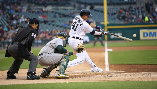 Tigers DH Victor Martinez bats Tuesday at Comerica Park.