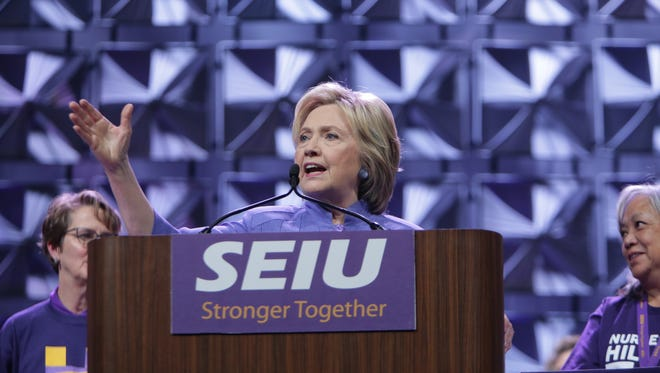 Democratic presidential candidate Hillary Clinton speaks to members of the Service Employees International Union on Monday May 23, 2016 at Cobo Center in downtown Detroit during the organizations international convention.