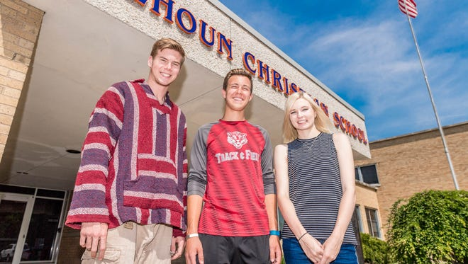 Calhoun Christian seniors (l to r) Noah Barry, Hannah Huling and Austin Dosh were part of the school's first-ever class of kindergartners.