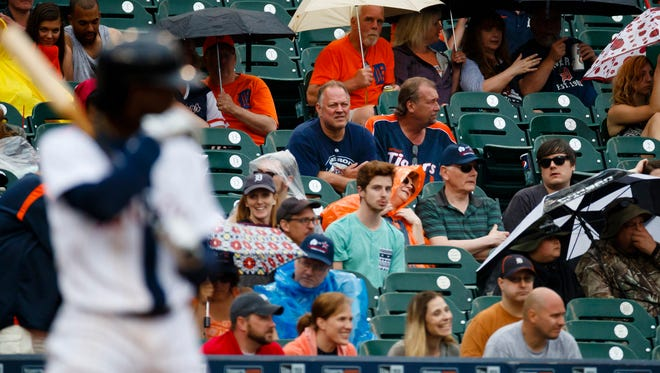 Fans watch the Detroit Tigers play the Chicago White Sox on June 4, 2016, at Comerica Park.