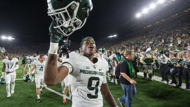 Sep 17, 2016; South Bend, IN, USA; Michigan State Spartans receiver Donnie Corley celebrates after MSU defeated the Notre Dame Fighting Irish 36-28 at Notre Dame Stadium.