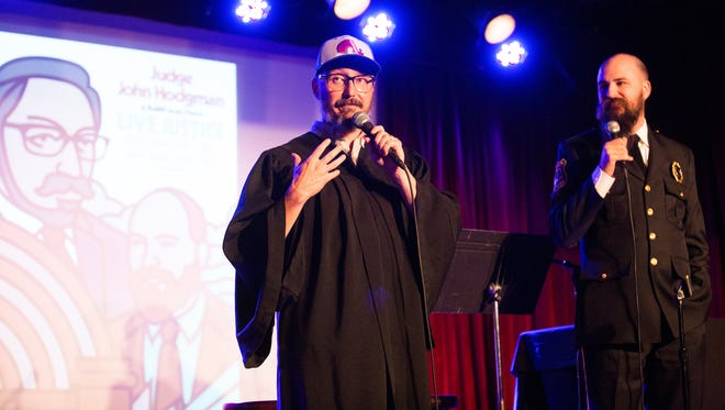 John Hodgman (left) and Jesse Thorn on stage at the Bell House on Sept. 19.