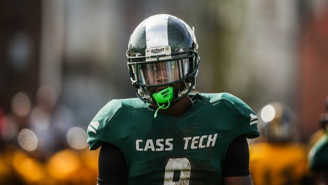 Detroit Cass Tech receiver Donovan Peoples-Jones during a game against Detroit King on Saturday, Oct. 1, 2016, in Detroit.