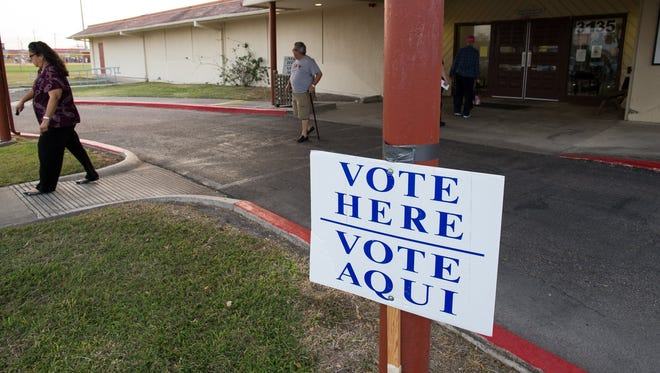 COURTNEY SACCO/CALLER-TIMES  Voters leave the Lindale Senior Center polling location on Super Tuesday, Mar. 1, 2016.