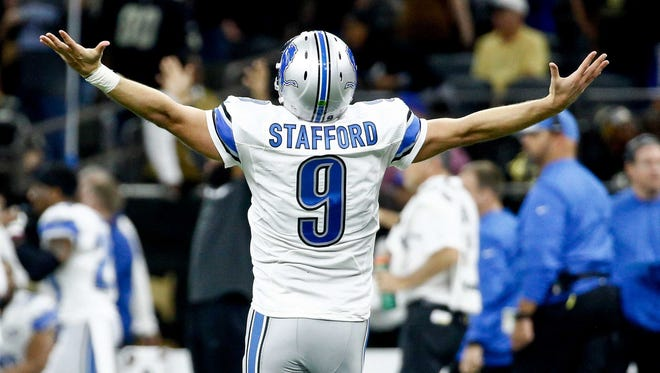 Dec 4, 2016; New Orleans, LA, USA; Lions quarterback Matthew Stafford celebrates after throwing a touchdown against the New Orleans Saints during the second half at the Mercedes-Benz Superdome.