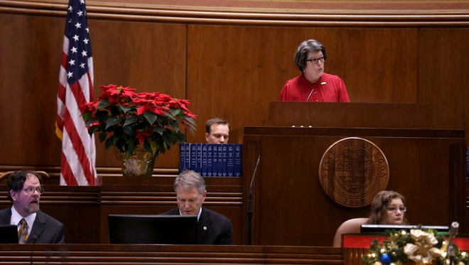 Oregon Secretary of State Jeanne Atkins presides over the electoral college vote for president and vice president at the Oregon State Capitol in Salem on Monday, Dec. 19, 2016. All seven of Oregon's presidential electoral votes went to Hillary Clinton.