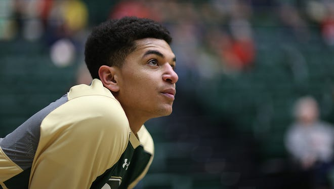 CSU guard Anthony Bonner pauses to watch his teammates during warm-ups Saturday before a home game against New Mexico.