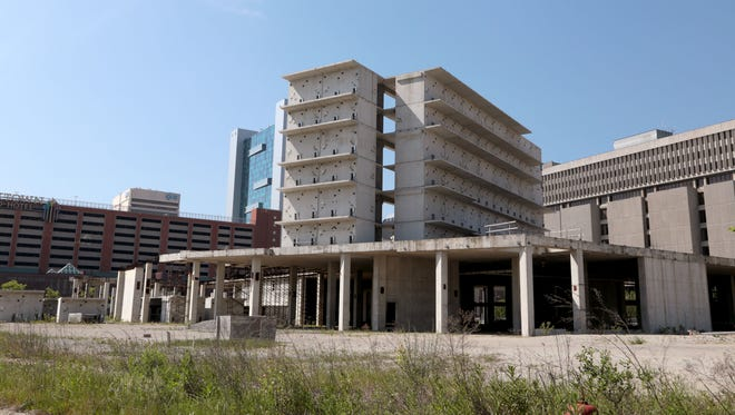 Site of the stalled Wayne County Jail on Gratiot in Detroit in May 2016.