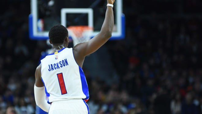 Pistons guard Reggie Jackson celebrates during the Pistons' 112-92 win over the Knicks on Saturday, March 11, 2017 at the Palace.