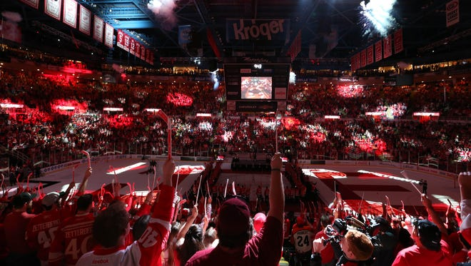Red Wings fans enjoy a postgame ceremony to celebrate Joe Louis Arena on Sunday, April 9, 2017.