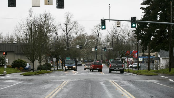 Pine Street, looking west, could be extended into a bridge that will cross the Willamette River to West Salem as part of the proposed Third Bridge plan. City councilors on Monday will vote on an agreement with the Oregon Department of Land Conservation and Development regarding the third-bridge project.
