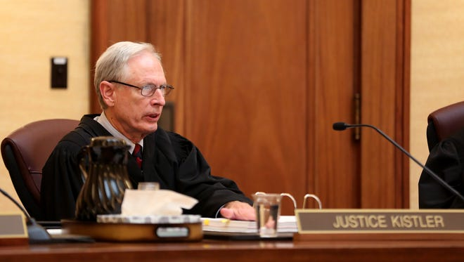 Justice Rives Kistler asks a question during a judicial fitness hearing for Marion County Circuit Judge Vance Day at the Oregon Supreme Court in Salem on Wednesday, June 14, 2017.