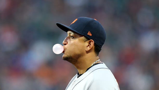 Tigers first baseman Miguel Cabrera (24) blows a bubble during a stop in play in the fourth inning of the Tigers' 11-2 loss Friday in Cleveland.
