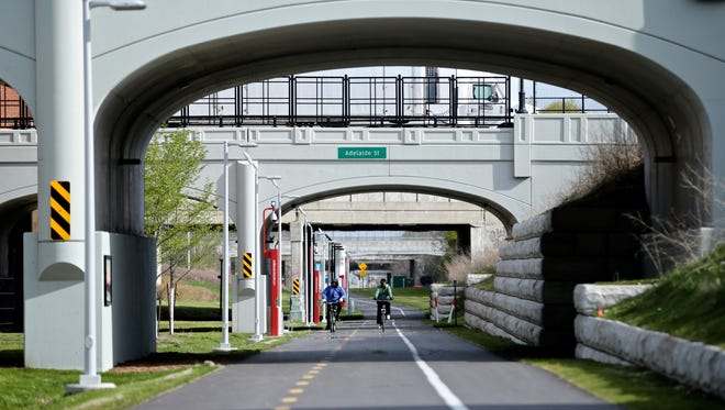 The south view of the popular Dequindre Cut greenway from Gratiot to Mack is seen in this 2016 file photo in Detroit, MI.