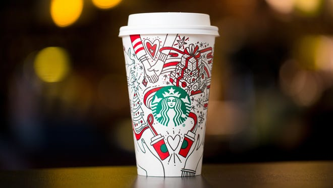 Starbucks 2017 holiday cups photographed on Monday, Oct. 23.