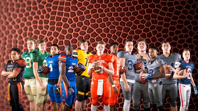 From left to right: Northeastern's Elijah Alexander, York Catholic's Matt Knauer, York Catholic's TJ McGraw, York High's Dayjure Stewart, York High's Khalid Dorsey, Red Lion's Zerick Nease, Central York's Cade Pribula, Central York's Tim Sturgis, Dallastown's Ben Ward, Dallastown's Jonah Miller, Dallastown's Nyzair Smith, Dallastown's Raymond Christas and New Oxford's Owen Buhr.GameTimePA's 2017 all-star football offensive team. Photo illustration.