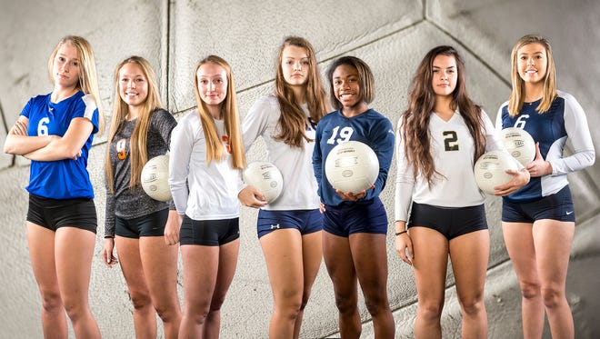 From left to right: Spring Grove's Kendra Miller, Central York's Emily Wilt, Central York's Marly Anderson, West York's Trilby Kite, West York's Tesia Thomas, Delone Catholic's Chloe Kindig and Dallastown's Delaney Kolb.GameTimePA's 2017 all-star girls' volleyball team. Photo illustration.