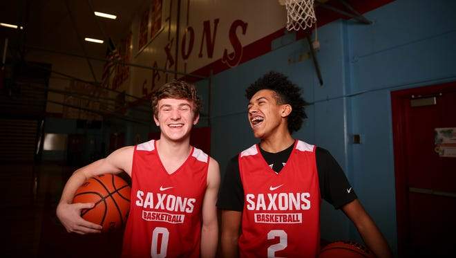Tyler Wadleigh, left, a senior, and Jaden Nielsen-Skinner, a junior, are both guards for the South Salem boys basketball team and have been friends since elementary school. Photographed at South Salem High School on Wednesday, Jan. 10, 2018.