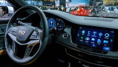 A dashboard of a 2018 Cadillac CTX Plug-In is seen